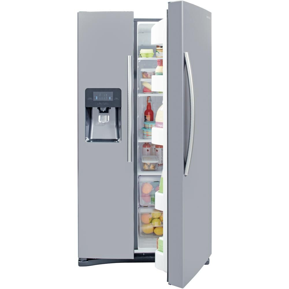 Samsung 24 5 Cu Ft Side By Side Refrigerator In Stainless Steel Rs25j500dsr Side By Side Refrigerator Samsung Refrigerator Storage Bins