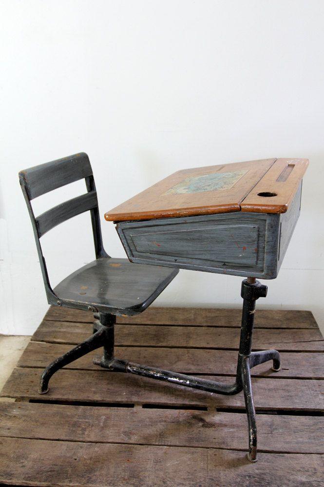 Vintage School Desk // Children's Desk - Painting Ideas For Our Vintage School Desk From OLP Desk Vintage
