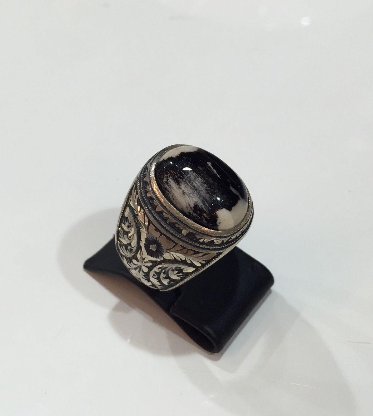 Petrified wood agate handmade 925 silver men ring