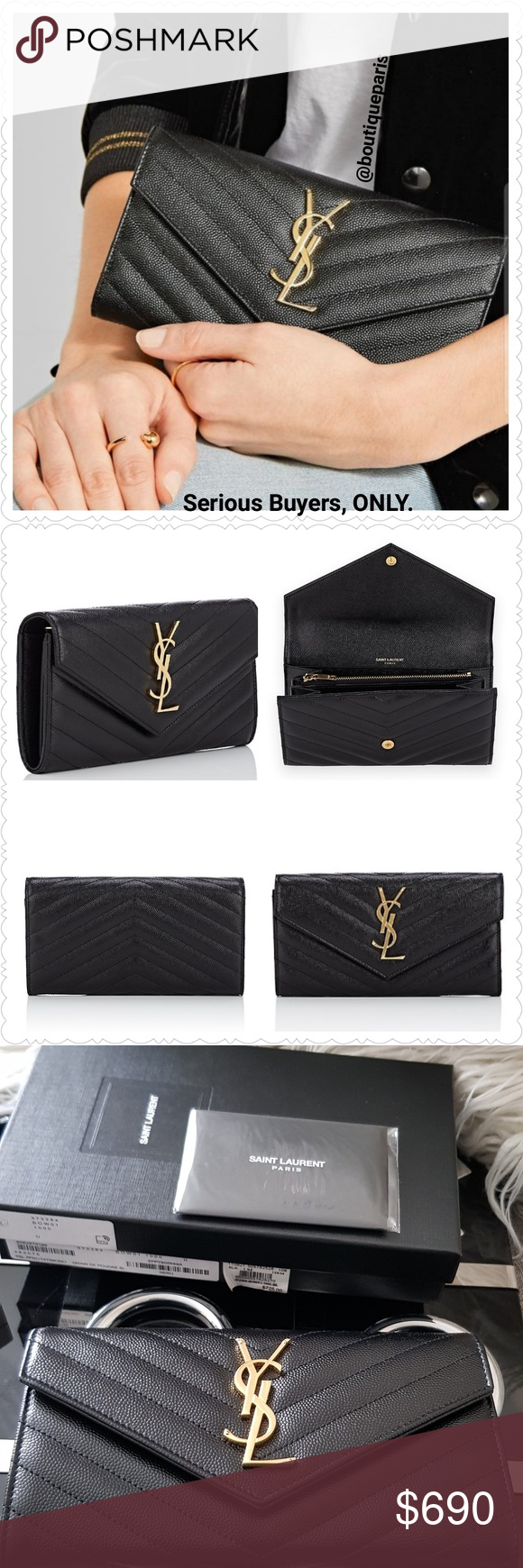 8dcdd3e125 Saint Laurent Monogram LARGE Leather Flap Wallet♥️ NWT in 2019 ...