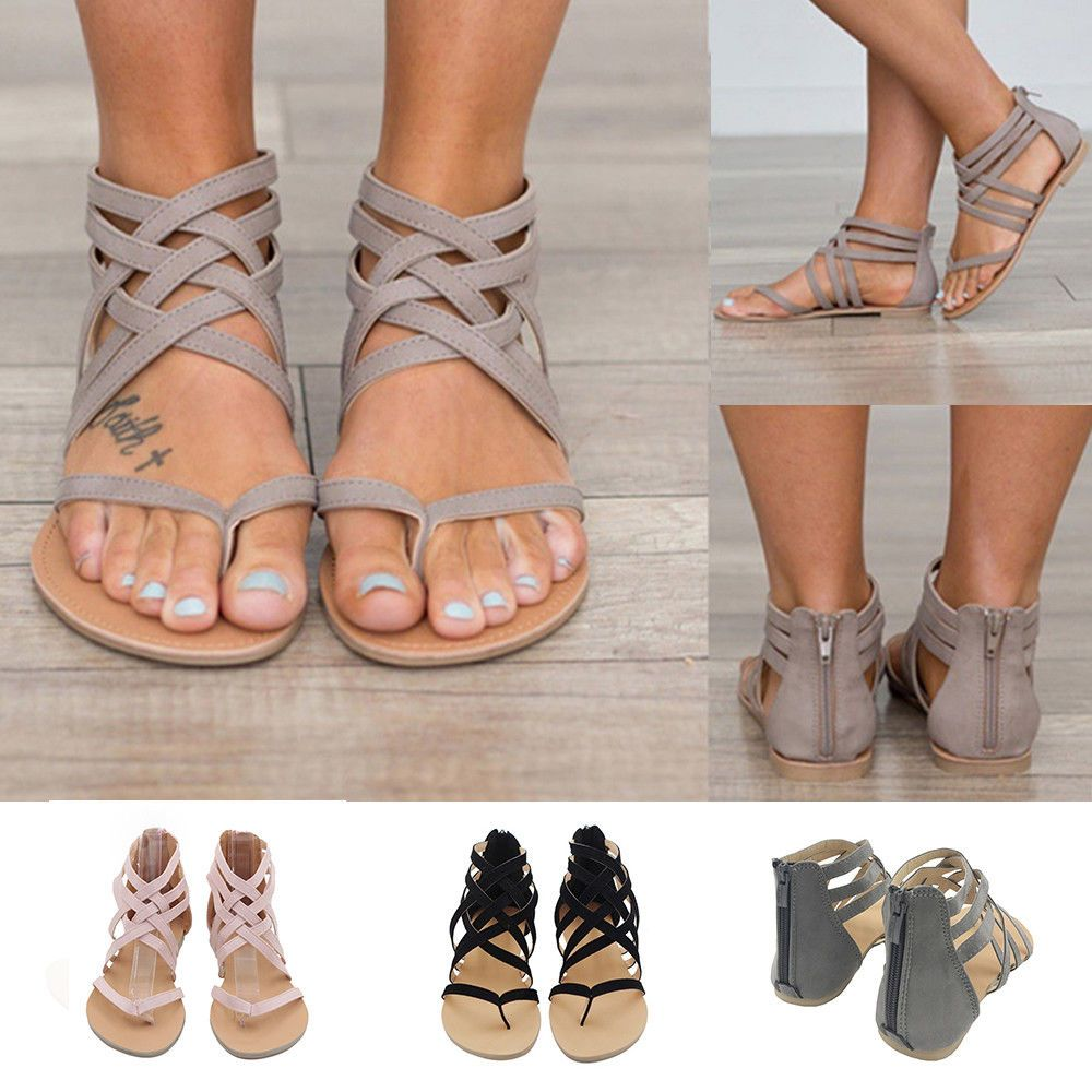 a665154ab1366 Women Strappy Gladiator Low Flat Heel Summer Flip Flops Beach Sandals Shoes  Size  Unbranded  Gladiator  Casual