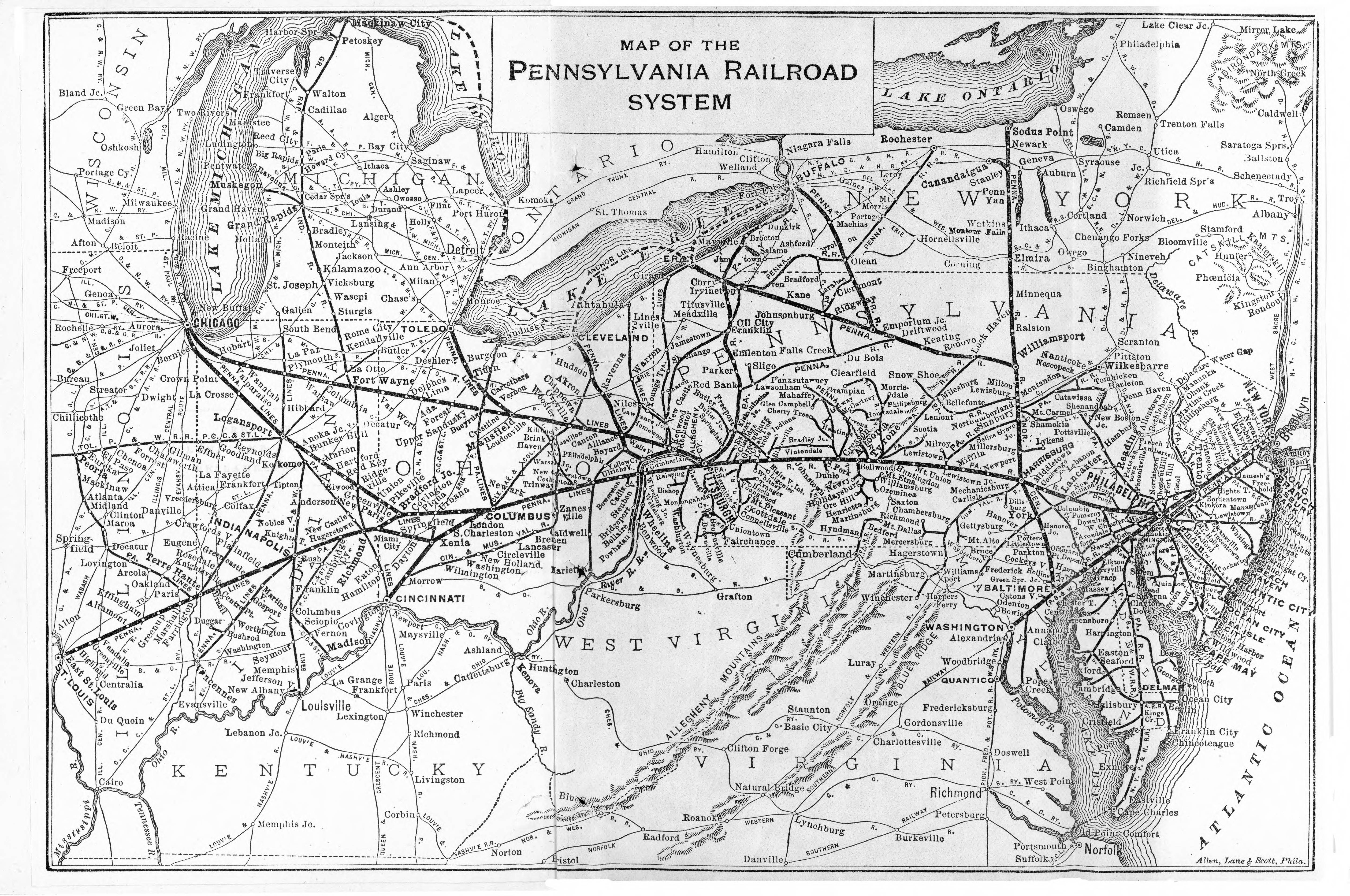 Pennsylvania Railroad System Map Rail Usa Interesting - Map of the railroad system in the us