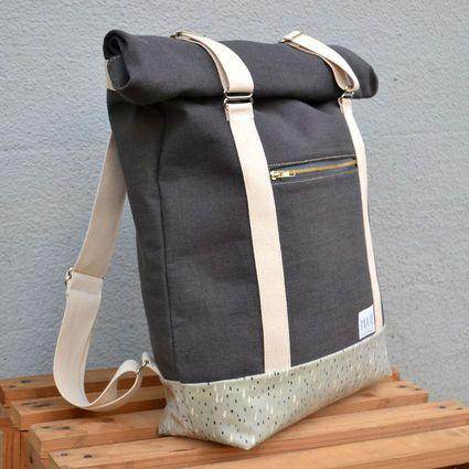 "Roll Top Backpack ""AHTI"", grey   Weecos"