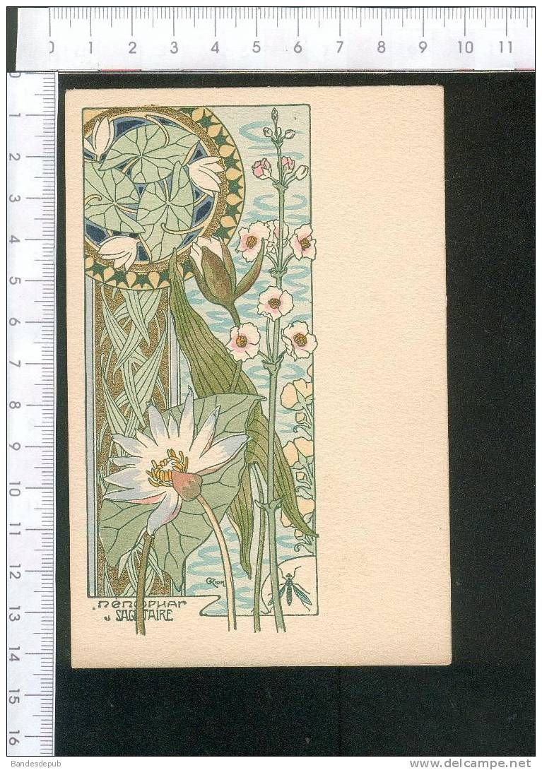 Superbe Carte Art Nouveau Illustree Par Riom Dessin Avec Dorures