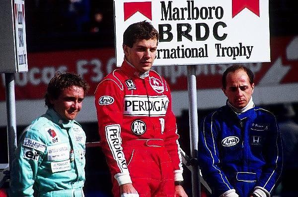 The podium (L to R): Michel Trolle (FRA) GBDA, second; Mauricio Gugelmin (BRA) Ralt, winner; Roberto Moreno (BRA) Ralt, third - Marlboro International Trophy - 1987 Intercontinental Formula 3000 Championship , round 1 - © Sutton Motorsport Images