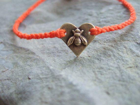 Bee+and+Heart+Bee+my+Heart+Charm+Orange+Waxed+Cord+by+justflower,+$16.00