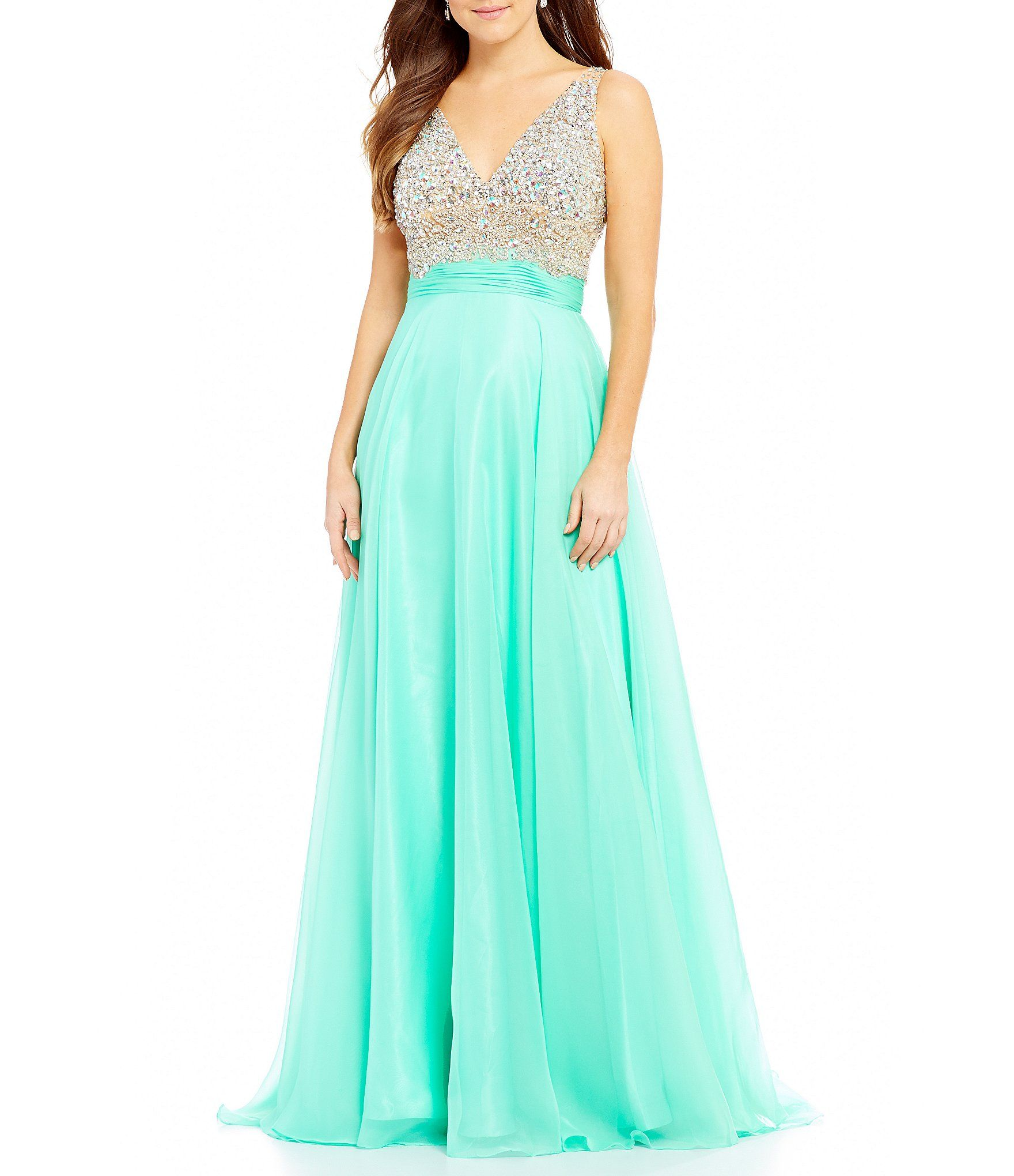 33037b63750 ... for the perfect long prom or formal dress. Coya Collection Bead  Encrusted Bodice VBack Gown  Dillards