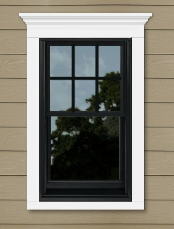 Black 400 Series Anderson Windows With Colonial Top Sash Only And Cornice Trim Siding