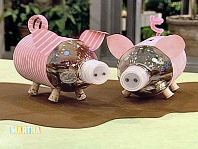Recycled water bottle piggy bank piggy banks water for Plastic bottle piggy bank craft