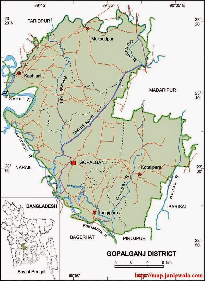 Gopalganj Zila Map Dhaka Division Bangladesh Maps Of - Map of dhaka division bangladesh