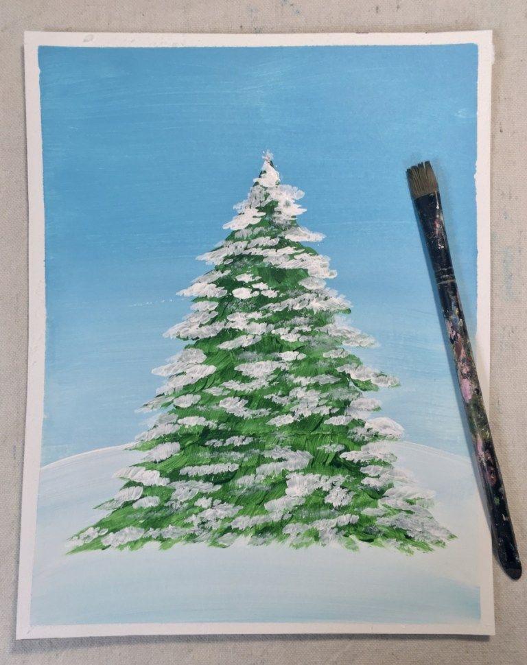 How To Paint A Christmas Tree Christmas Tree Painting Tree Painting Easy Christmas Drawings