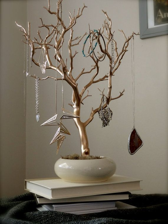 Jewelry Holder Organizer Tree Gold and Cream 18 painted tabletop
