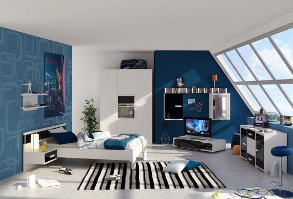 Schlafzimmer ideen farbgestaltung blau  Schlafzimmer Dachsräge Ideen für Jungen-Blau Wand-Gestaltung ...
