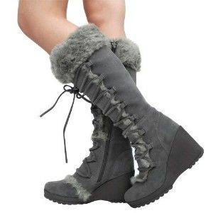 Cheap faux fur knee high bootsAvalon23 Faux Fur Wedge Bootsreview at  Kaboodle