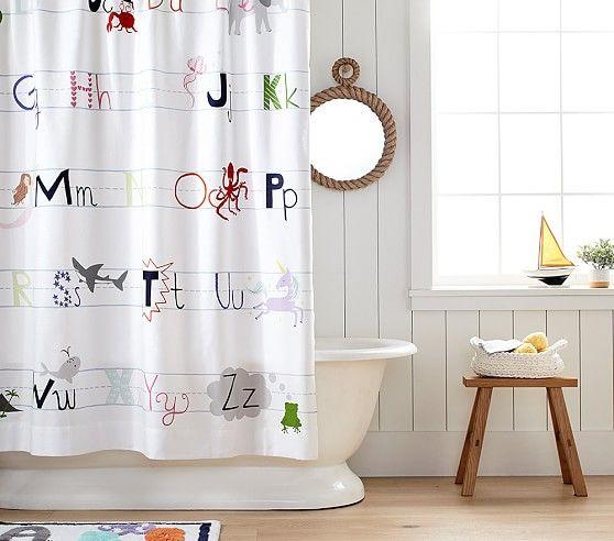 Abc Shower Curtain Boys Shower Curtain Kid Bathroom Decor Bathroom Kids