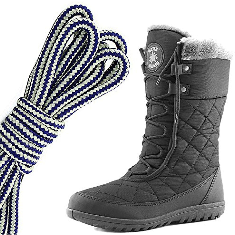 b5d3a76084d Women's Comfort Round Toe Mid Calf Flat Ankle High Eskimo Winter Fur ...