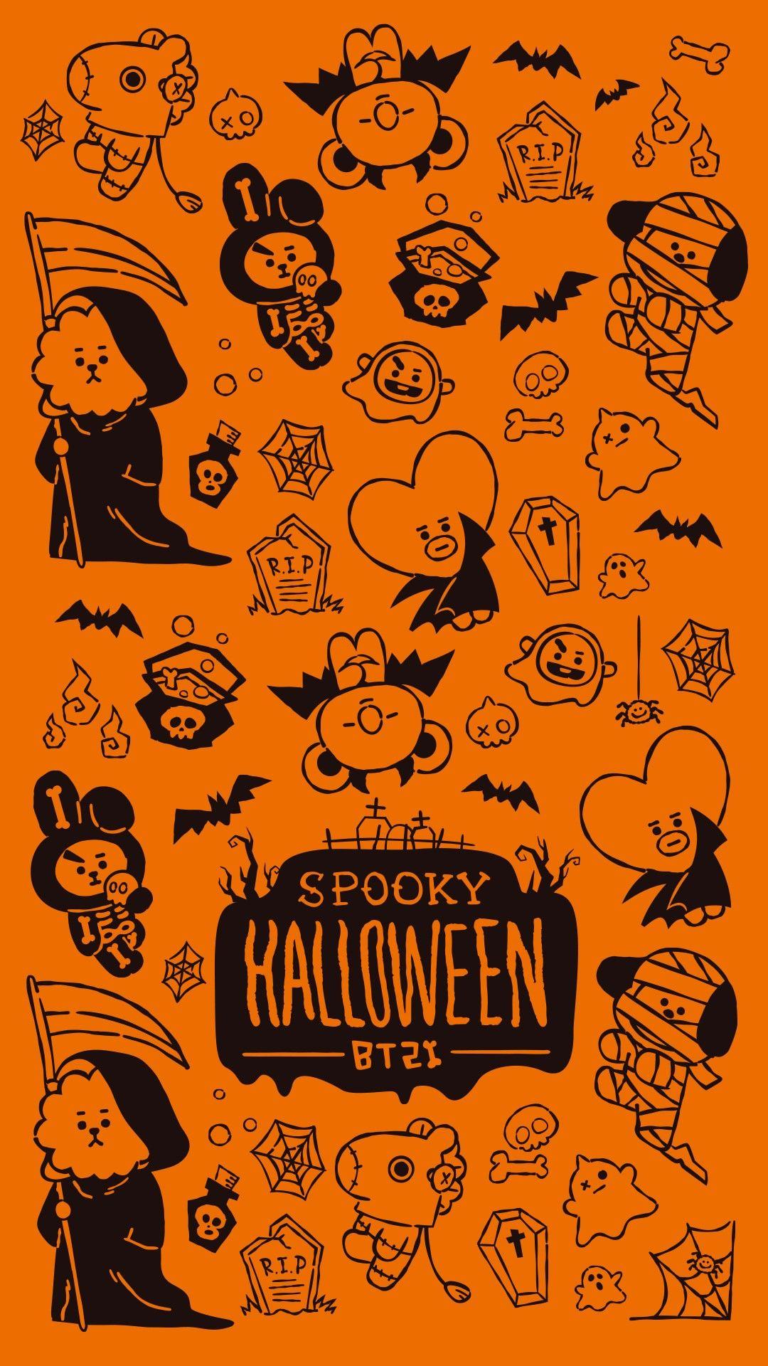 Bt21 Wallpaper Halloween Bts Halloween Halloween Wallpaper Line Friends