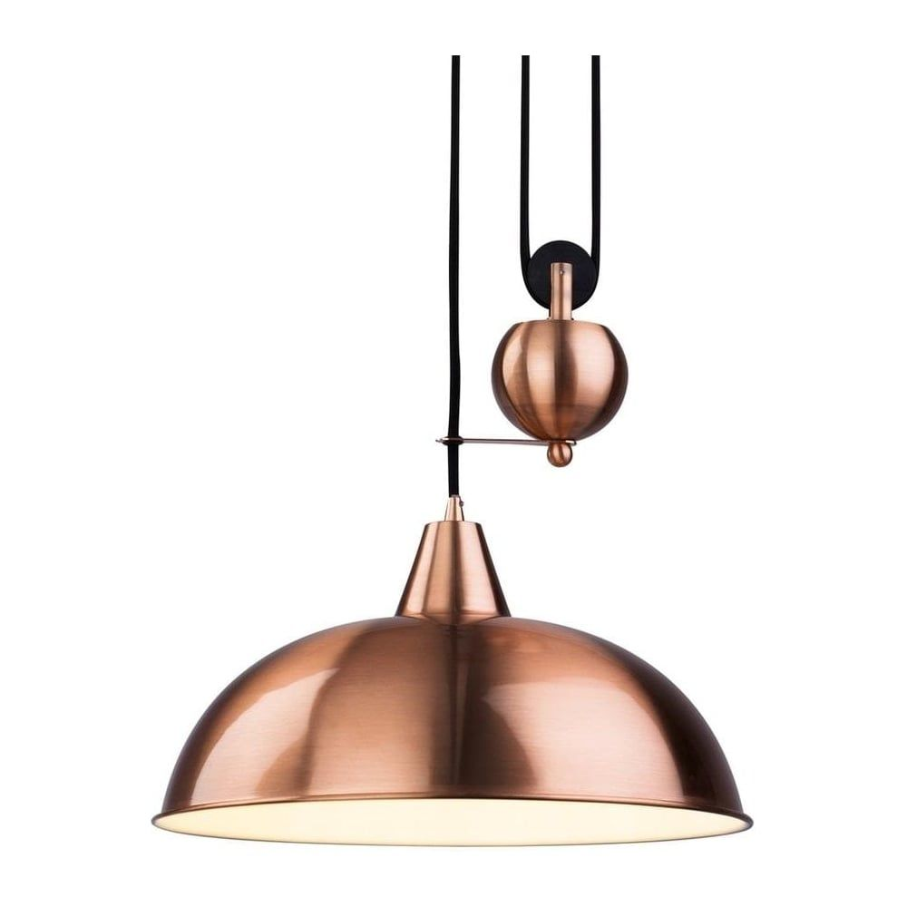 THLC Rise and Fall Ceiling Pendant Light in Brushed Copper ...