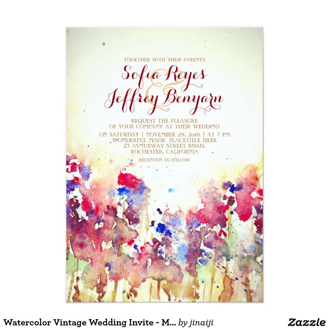 Watercolor-Vintage Hochzeit laden - Wiesen-Blumen Karte