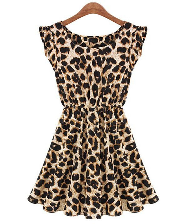 23580bfeab3c5 Alluring Scoop Neck Leopard Print Waisted Sleeveless Dress (LEOPARD