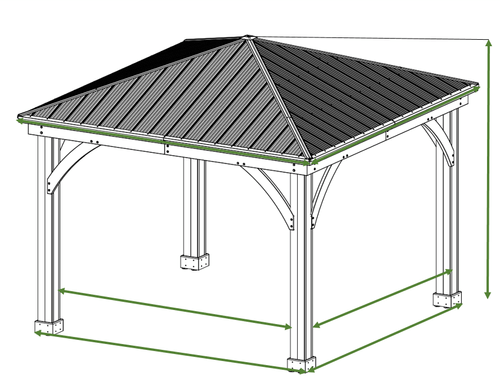 12 X 12 Cedar Gazebo With Aluminum Roof Aluminum Roof Gazebo Open Gazebo