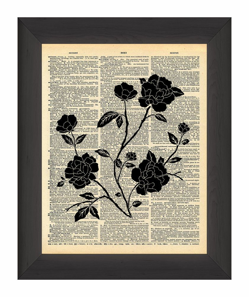 BLACK FLOWER  SILHOUETTE ANTIQUE DICTIONARY PAGE PRINT WALL ART PICTURE     eBay