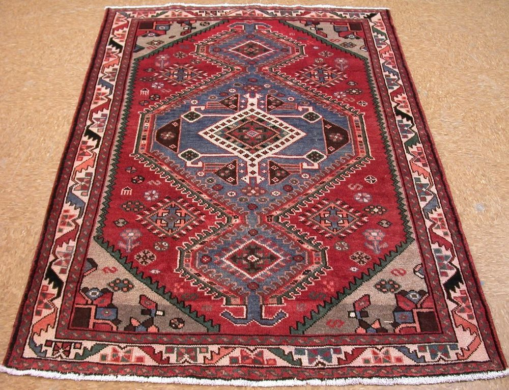 4 X 7 PERSIAN KAHAK NOMADIC TRIBAL Hand Knotted Wool RED BLUE Oriental Rug  #PersianKahakTribalNomadicGeometric