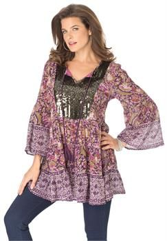 Plus Size Roaman's®  Sequin Embellished Tunic