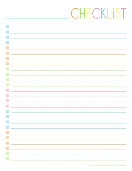 Empty-Checklist-One-Column Journal, Planner, Filofax Pinterest - daily checklist template word