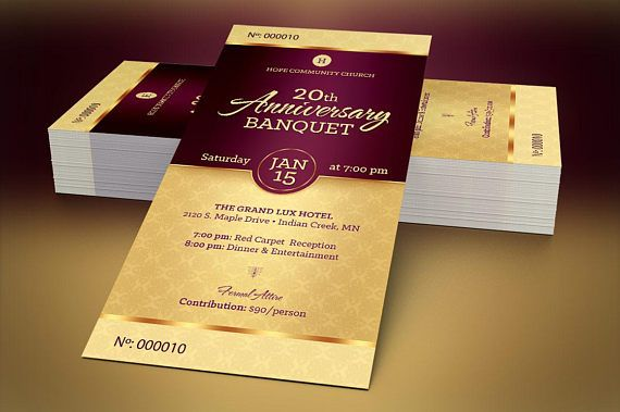 golden church anniversary banquet ticket publisher template is for