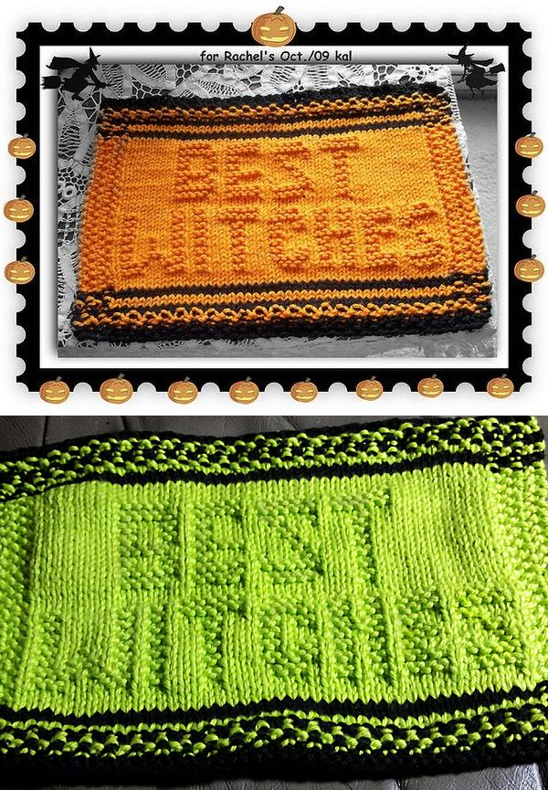 Free Knitting Pattern For Best Witches Dishcloth Easy Halloween