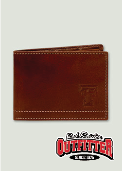 Embossed Double T Mahogany Leather Slim Wallet #RedRaiderOutfitter #TexasTech #RedRaiders #ttu