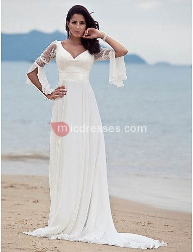 Long Sleeve Beach Wedding Dresses