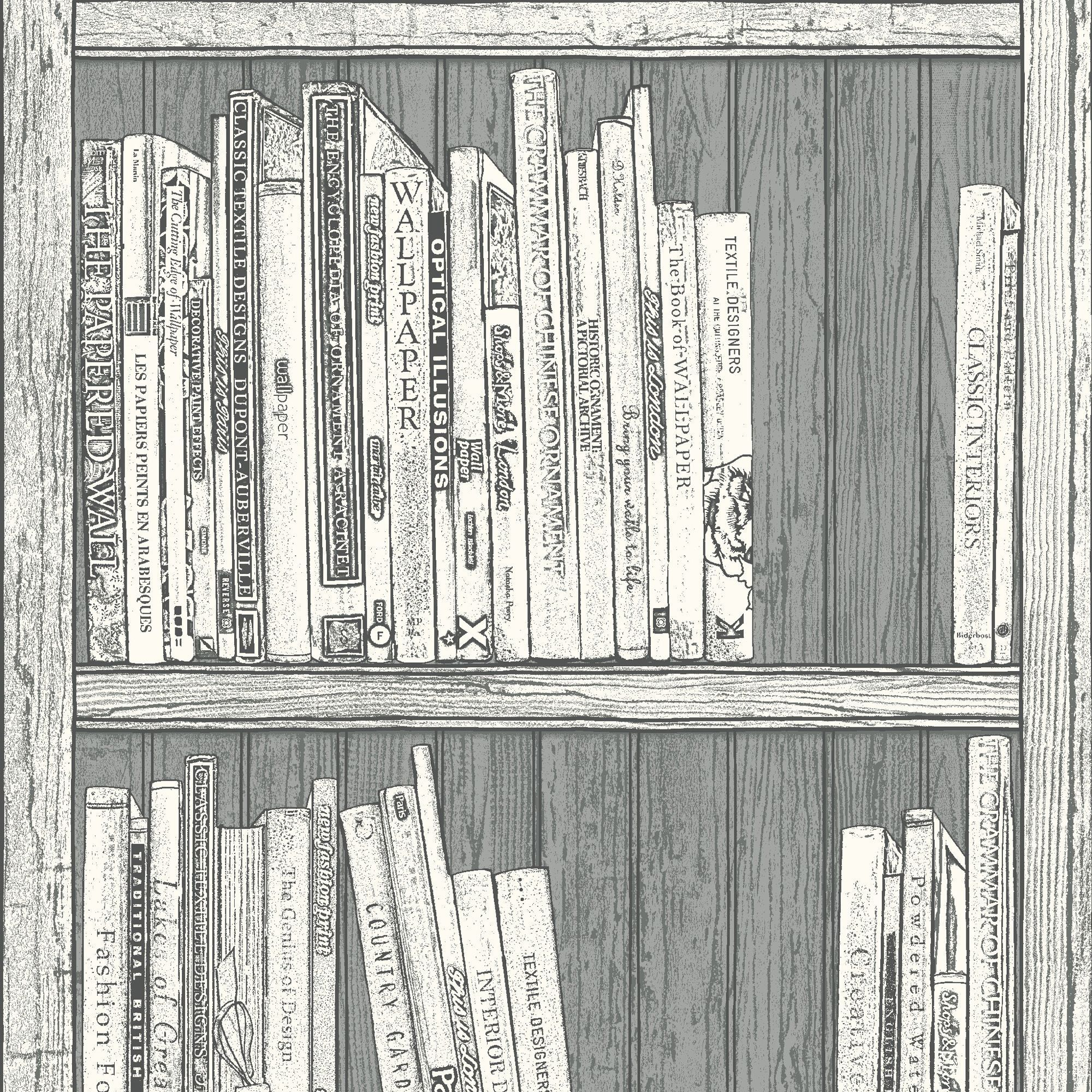 Statement Grey White Bookcase Wallpaper