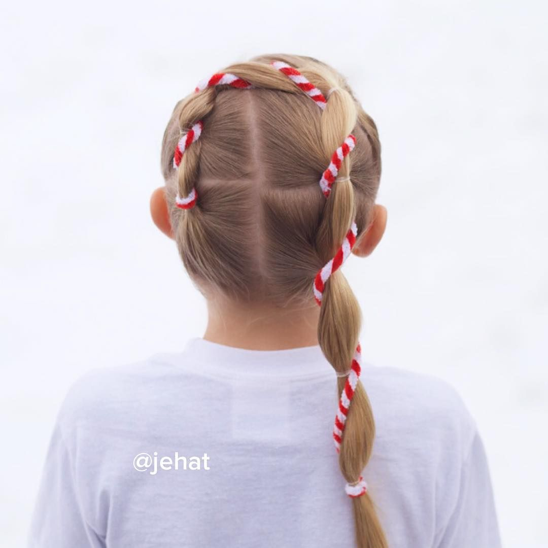 Jehat hair u festive candy cane style with elastics so perfect