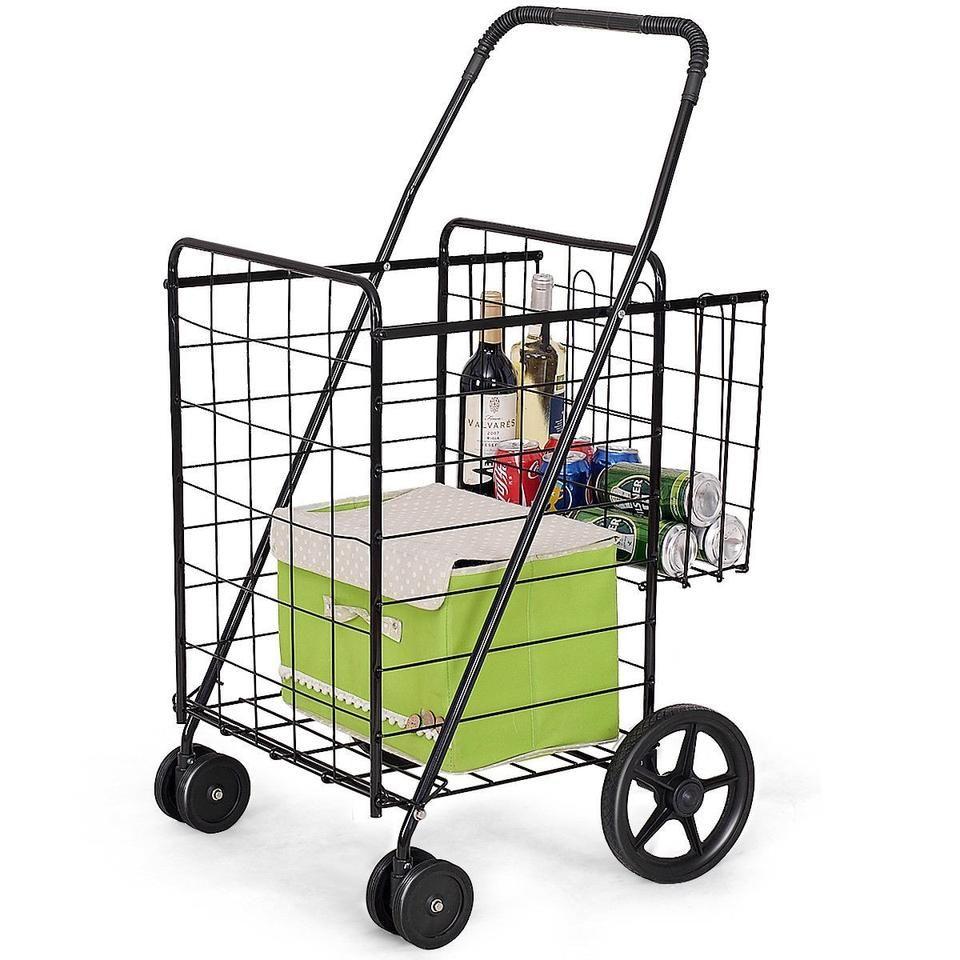 Jumbo Basket For Grocery Laundry Travel W Swivel Wheels Usa