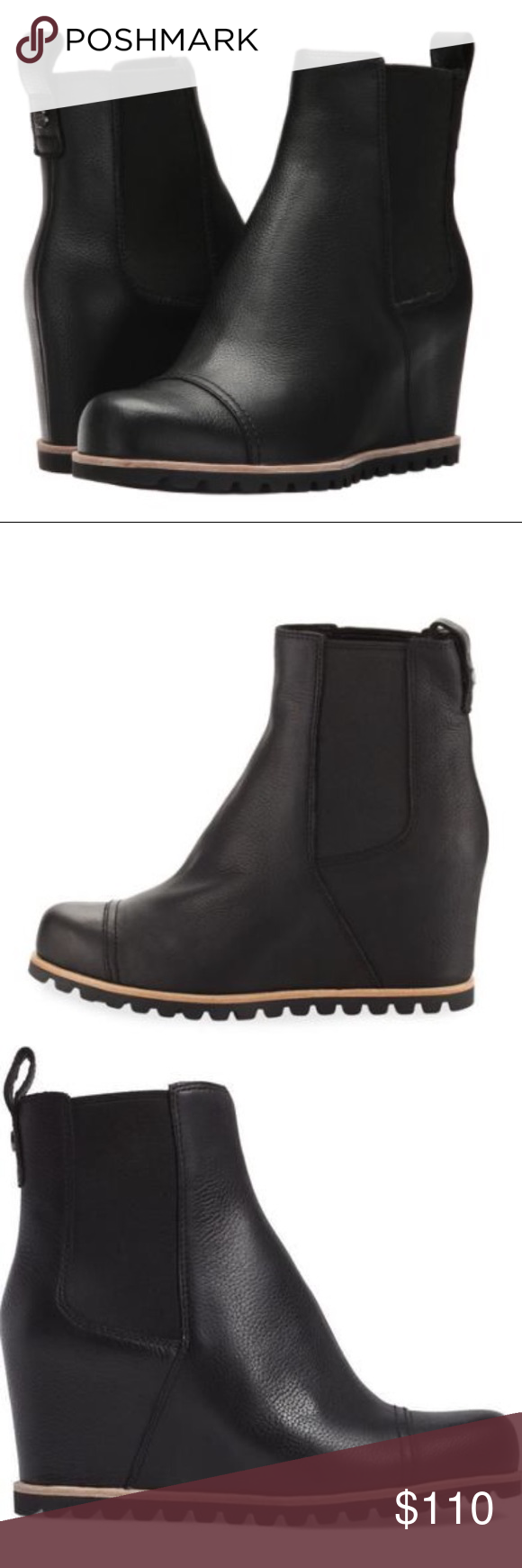 cfa9145c41a ❤️New Ugg Pax Black Leather wedge Boots size 9.5 New Ugg Pax Black ...
