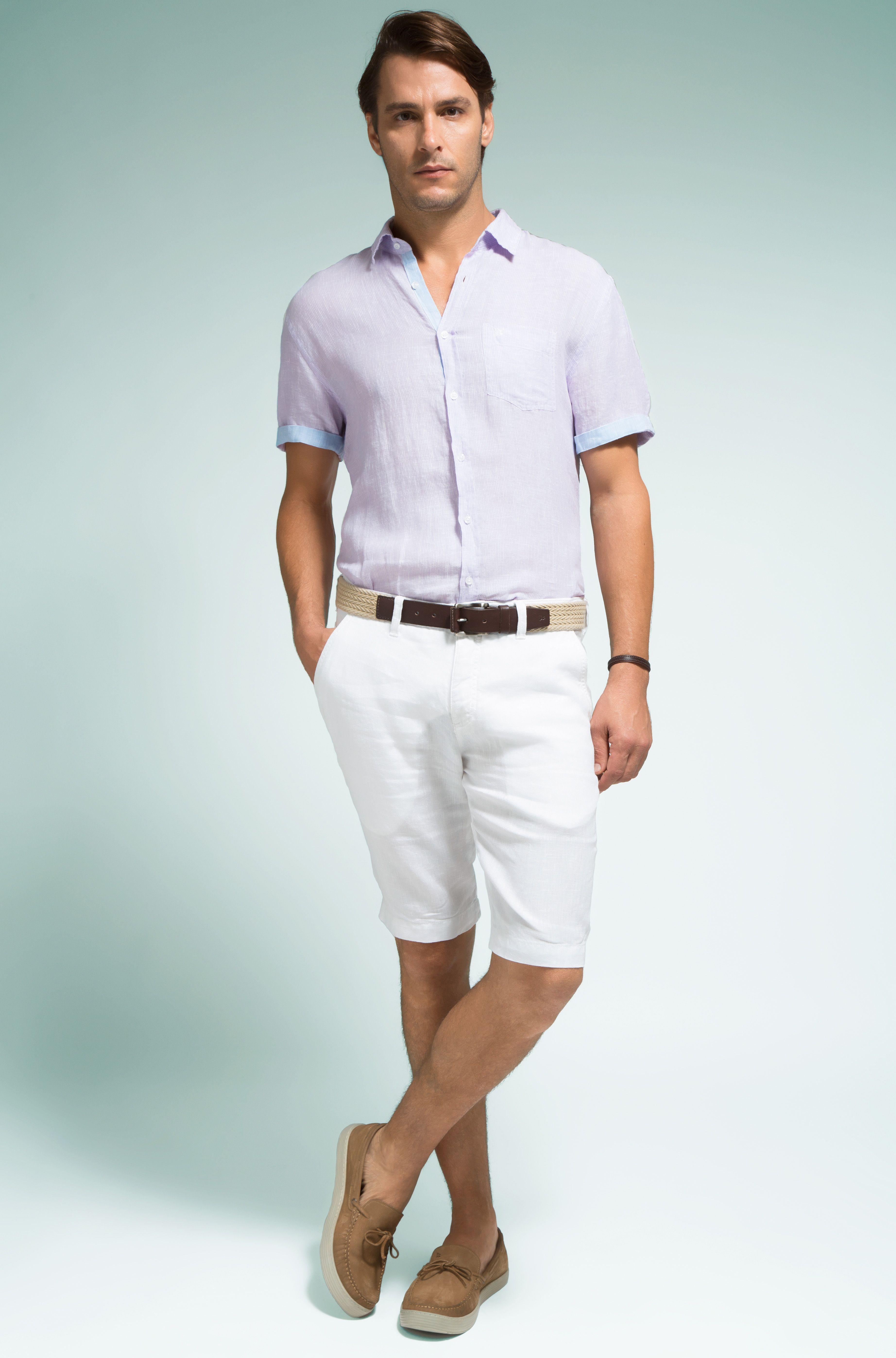 Camisa lilás de linho com manga curta e detalhes em azul 70e582f7516bd