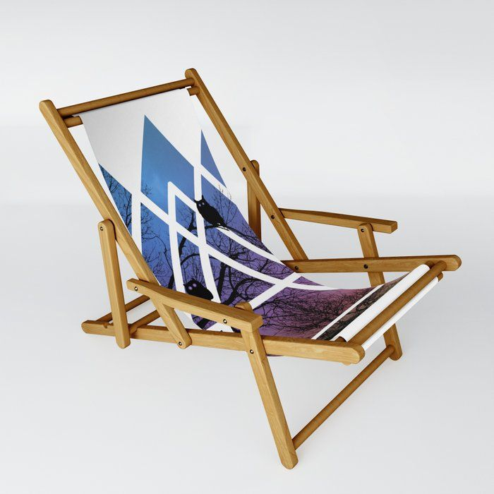 Night Wisdom - Sacred Geometry Triangels Patio Sling Chair by Gypsy Queen - One Size