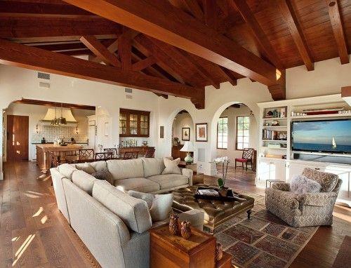 Hope Ranch Spanish Style Custom Home Family Room Mediterranean