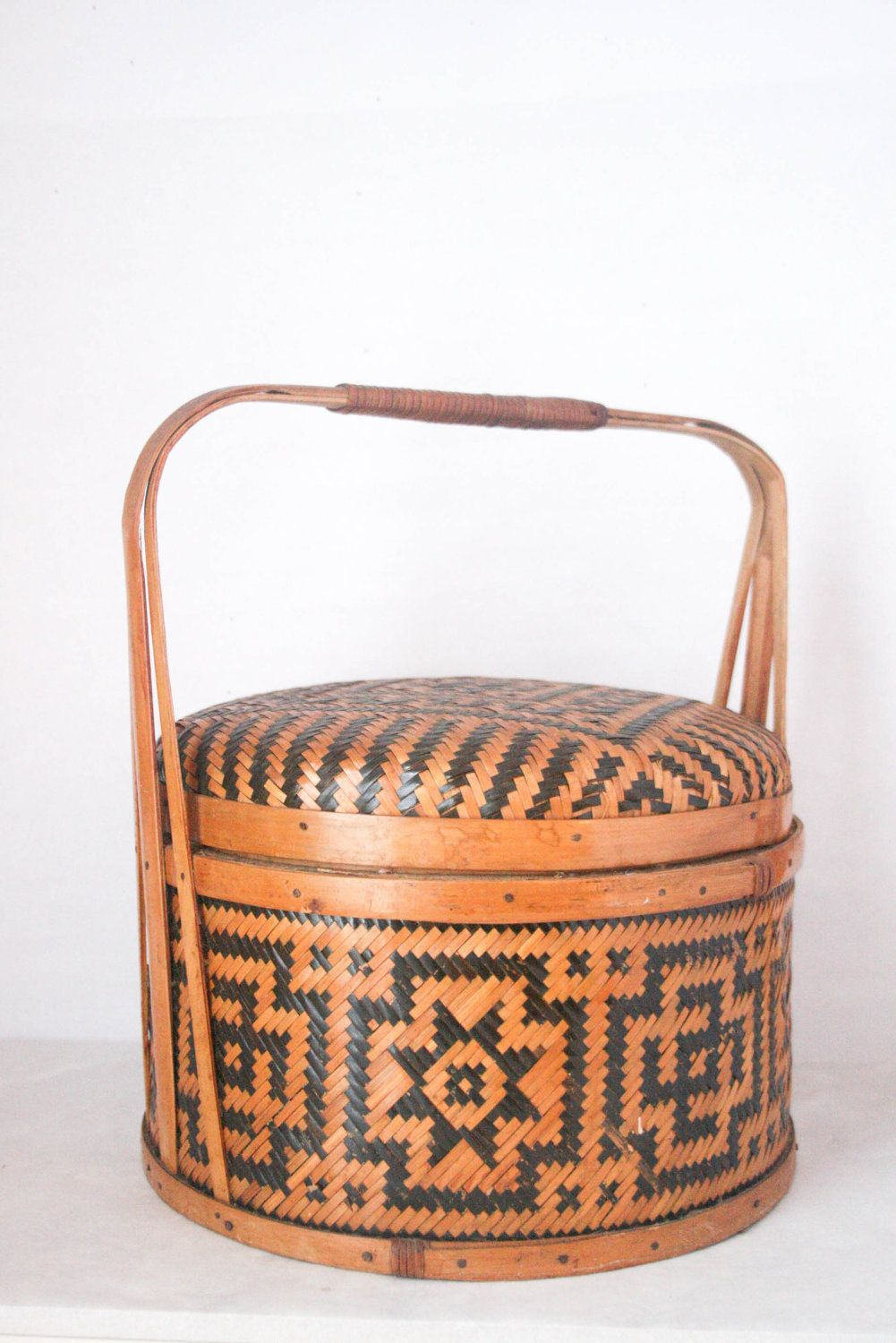 SALE Vintage Woven Basket - Sewing Basket, Picnic Basket, Aztec, Wicker. $52.00, via Etsy.