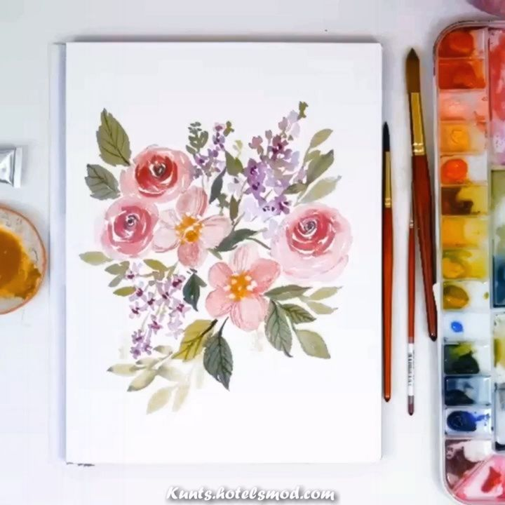 Atemberaubende Live Floral Lose Aquarell Fruhling Malen Sie Mit