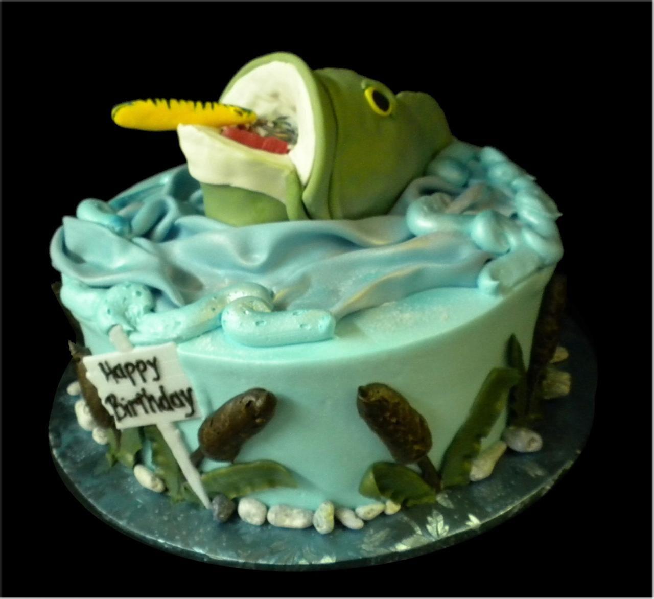 Fisherman 39 s birthday cake green and blue buttercream iced for Fishing birthday cake
