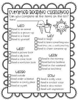 Summer Reading Challenge! encourage your students to keep