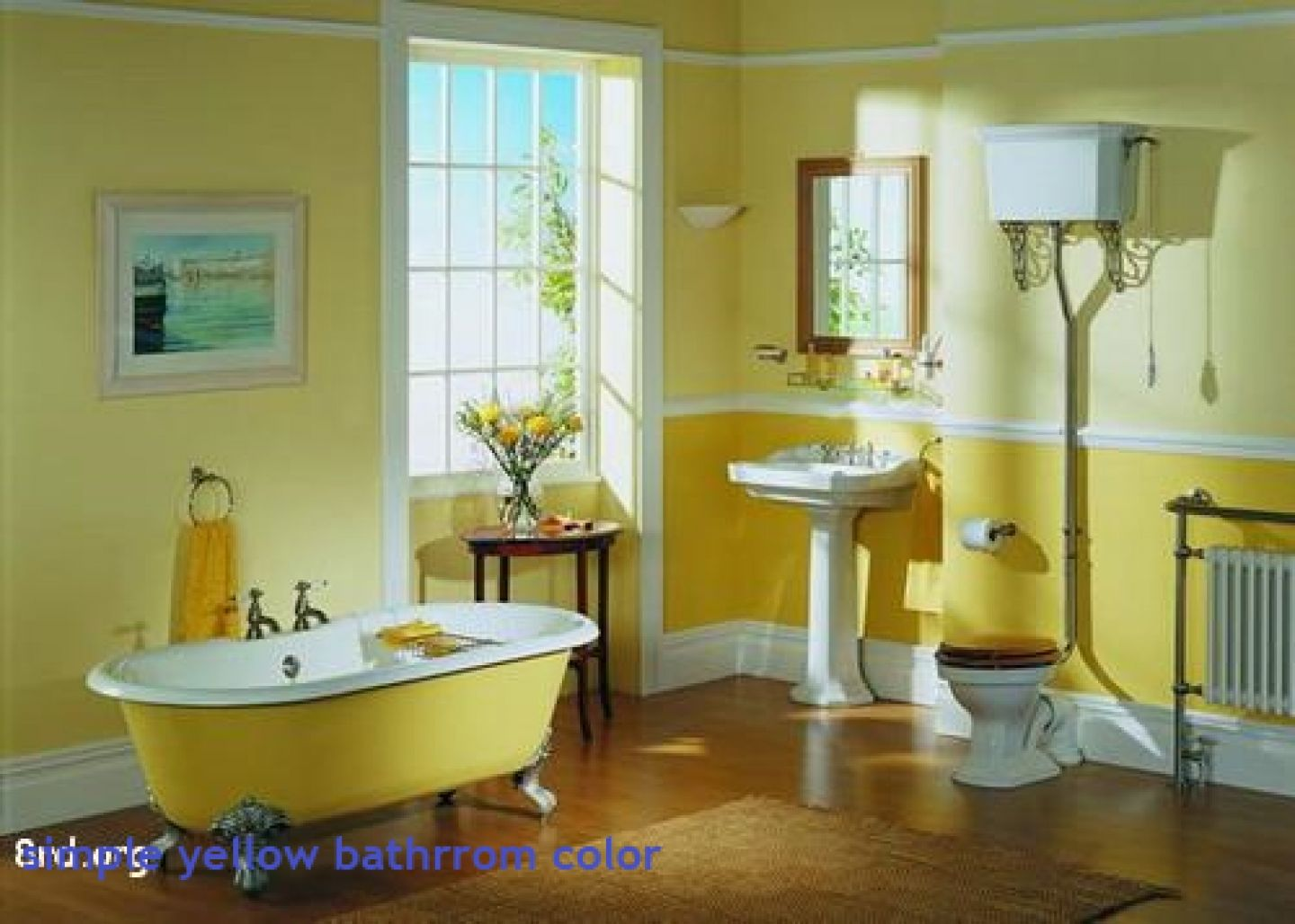 This vintage bath comes alive in lemon yellow and a deeper egg yolk ...