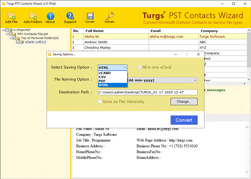 PST Contacts to HTML Converter Open PST Contacts in