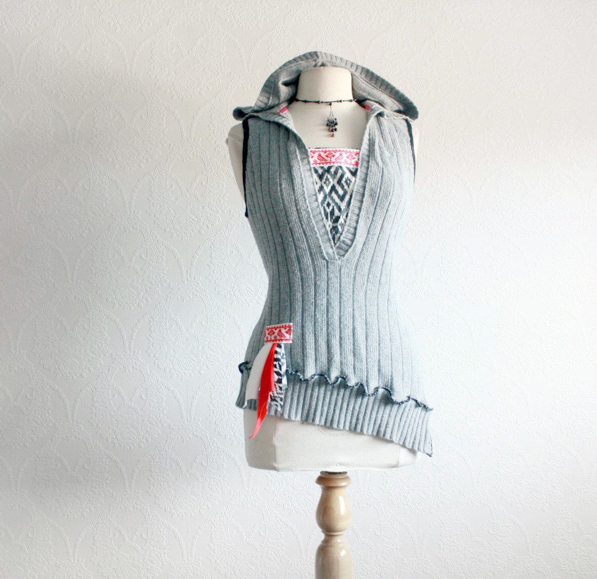Gray Sweater Vest Women's Hooded Top Southwestern Aztec Ladies ...