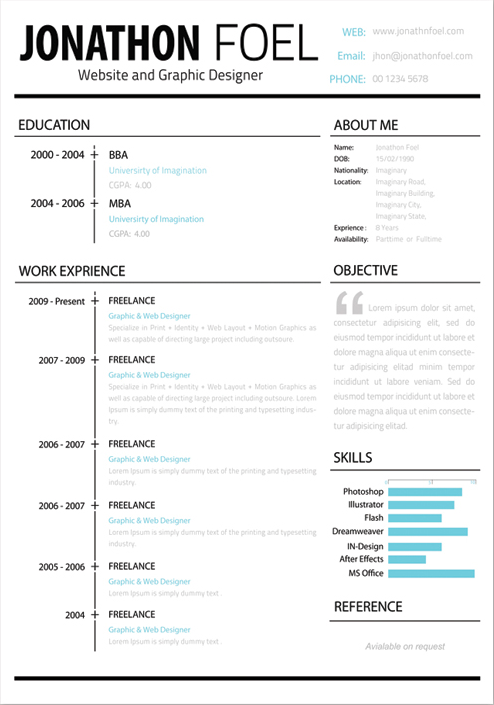 Free Resume Template Psd | Gabriels Pirat Birthday | Pinterest