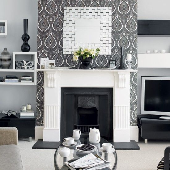 Living room wallpaper fireplace feature wall wallpaper for Silver wallpaper living room