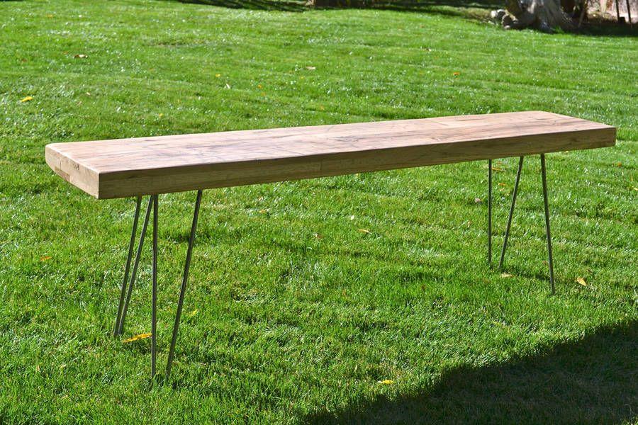 Reclaimed Oak Bench Mid Century Modern / Hairpin door WickedBoxcar